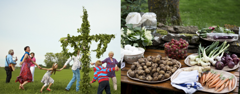 Dansen rond de meiboom (links) en typisch eten tijdens het midzomerfeest in Zweden (rechts)