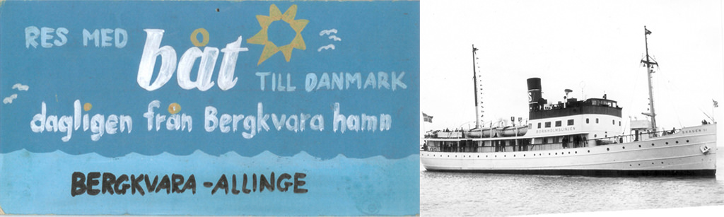 v.l.n.r. teken van de route Bergkvara - Allinge route en Skagen II Bornholmslinjen