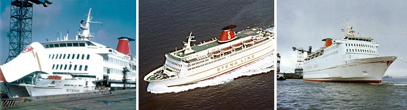 v.l.n.r. de Stena Danica III aan de kade, op zee en bij uitvaren van de haven