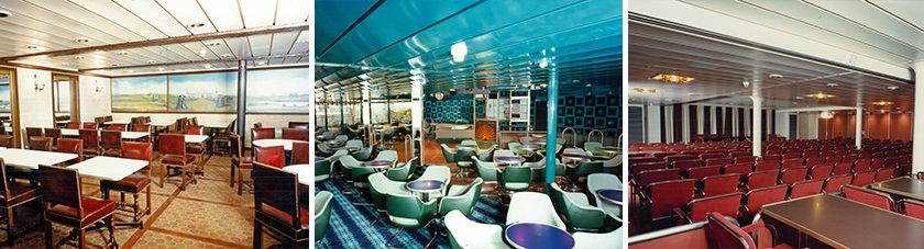 Het interieur van de Stena Danica ferry door de jaren heen.
