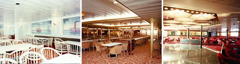 Het interieur van de restaurants aan boord van de Stena Danica IV door de jaren heen.