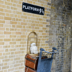 Harry Potter´s platform 9¾ op station Kings Cross.