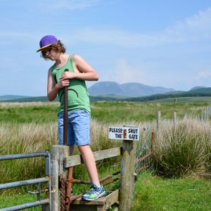 Het hek naar de schapenweide op het eiland Arran.