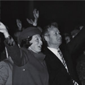 Prinses Beatrix zwaait na de doop van de ferry Koningin Beatrix.