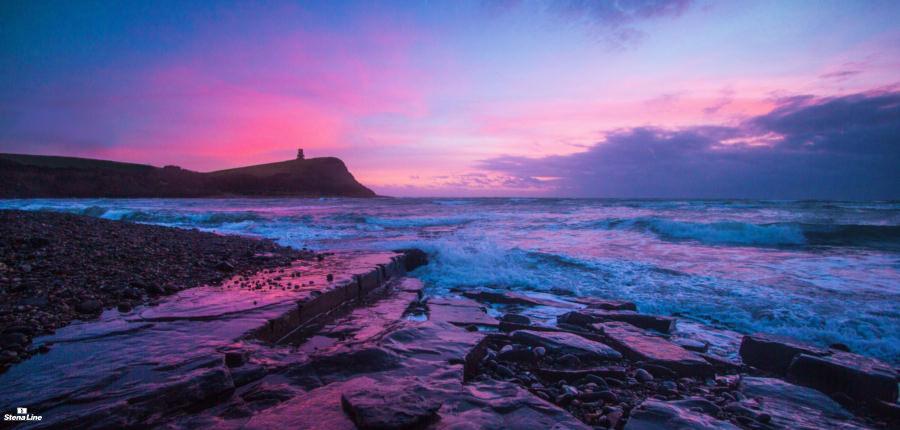 Jurassic Coast zonsondergang - UNESCO Werelderfgoed in Engeland
