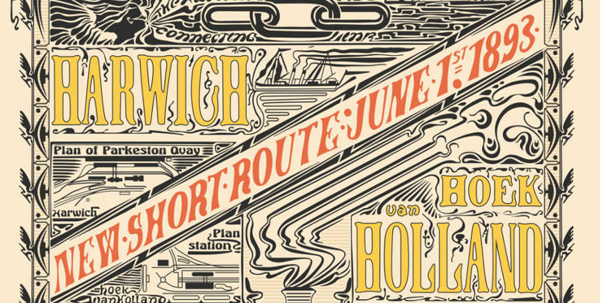 Poster start route Hoek van Holland Harwich 1 juni 1894