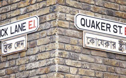 Brick Lane en Quaker Street Oost Londen