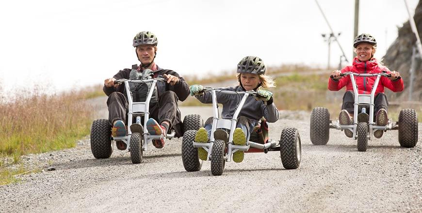 Mountain carting in Noorwegen met kinderen