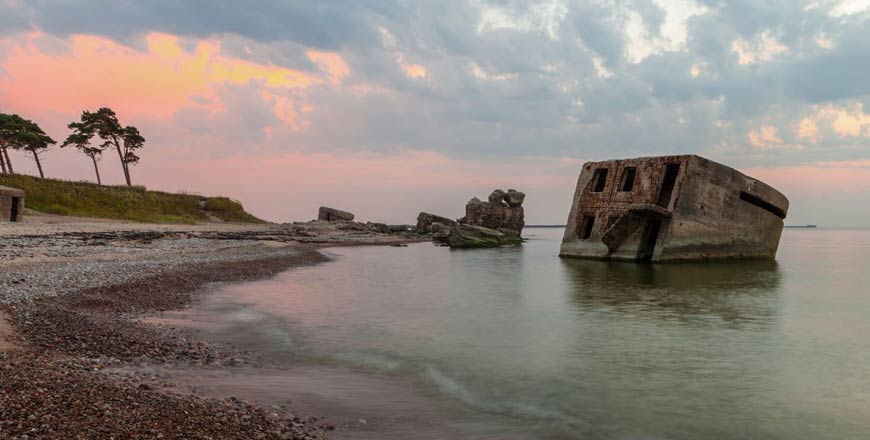 Bunker in oorlogshaven Karosta in Liepaja