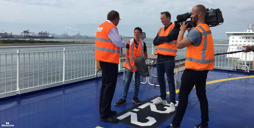 Jochem van Gelder bij Stena Line voor RTL4 programma Later als ik groot ben