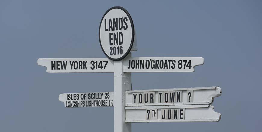 Lands End to John O'Groats verkeersbord