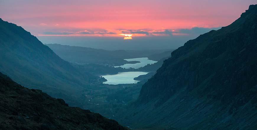 Zonsondergang in Snowdonia Wales