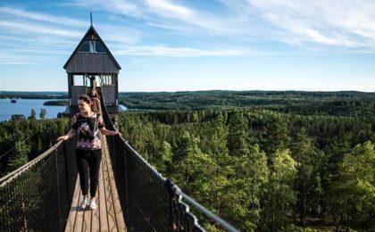 Mensen wandelen over een uitzichtspad hoog boven de bomen in Zweden